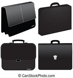 noir, business, sac, -, vecteur