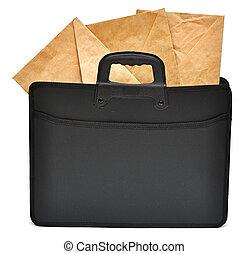 noir, business, serviette, à, enveloppes