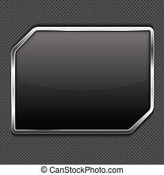 noir, cadre, métal, fond