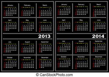 noir, calendrier, template., 2013