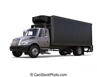noir, camion caravane, argent, réfrigérateur