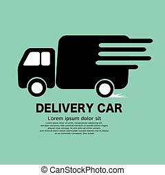 noir, camion livraison, illustration., vecteur, symbole, icône