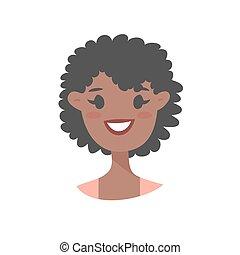 noir, caractère, dessin animé, femme
