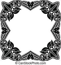 noir, carrée, cadre