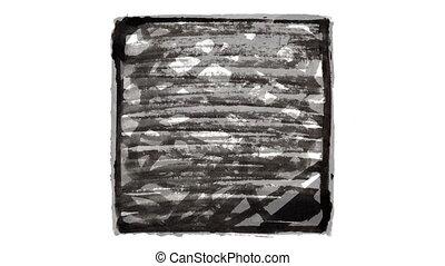 noir, carrés, fait main, animé, doodles