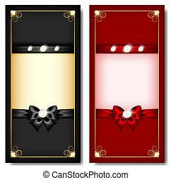 noir, cartes, salutation, &, rouges