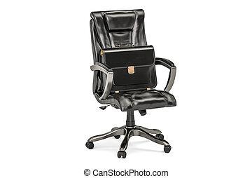 Rendre chaise noir bureau 3d. bureau isolé rendre arrière