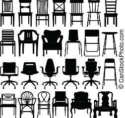 noir, chaise, ensemble, silhouette