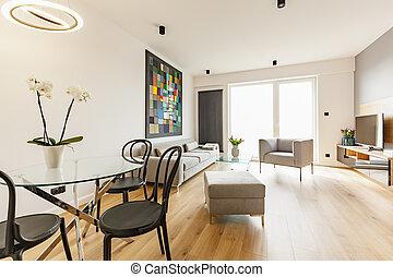 noir, chaises, table, à, fleurs, dans, spacieux, appartement, intérieur, à, sofa, et, armchair., vrai, photo