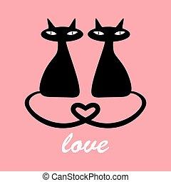 noir, chats, amour, deux