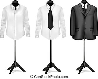 noir, chemises, complet, blanc