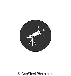 noir, circle., spyglass., espace, télescope, étoiles