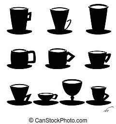 noir, coffee., tasse