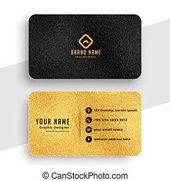 noir, conception, or, prime, élégant, carte affaires
