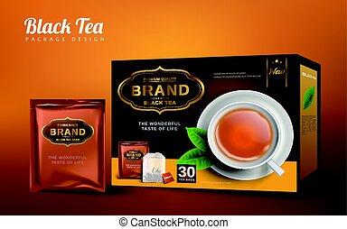 noir, conception, thé, paquet