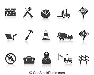 noir, construction, icône