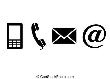 noir, contact, icons.