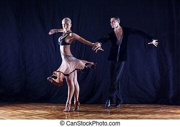 noir, contre, danseurs, fond