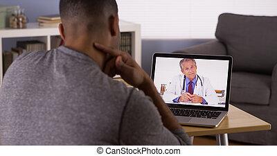noir, conversation, ordinateur portable, patient, docteur