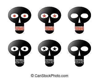 noir, crânes