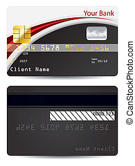 noir, crédit, carte rouge