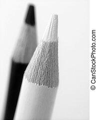 noir, crayons, blanc