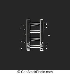 noir, croquis, -, échelle, icône