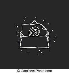 noir, croquis, -, email, icône