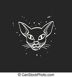 noir, croquis, icône, -, chat