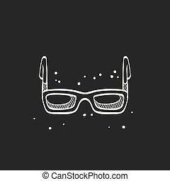noir, croquis, lunettes, -, icône
