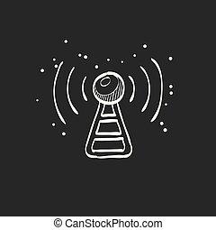 noir, croquis, podcast, -, icône