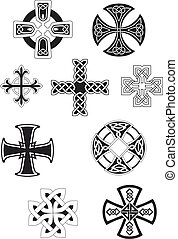 noir, crosses celtes, ornement, noeud