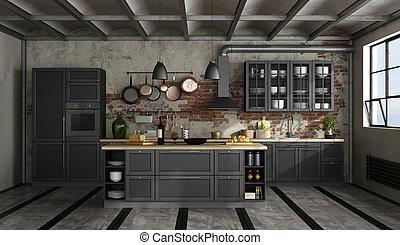 noir, cuisine, vieux, salle, retro