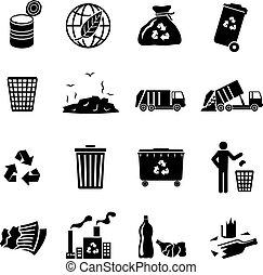 noir, déchets, icônes