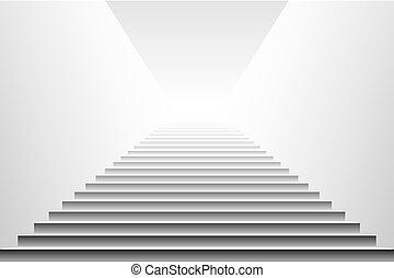 noir, détaillé, illustration, escaliers., eps10, vector., vecteur, escalier, escalier, blanc