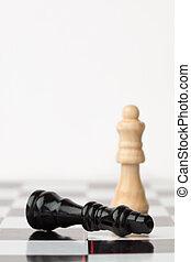 noir, debout, quoique, morceau, échecs, mensonge, blanc