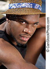 noir, dehors, chapeau, séance homme