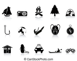 noir, dehors, et, camping, icône