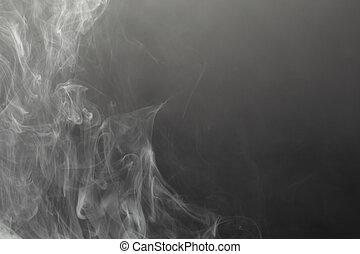 noir, dense, fumée, fond