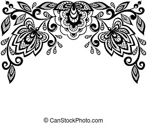 noir, dentelle, fleurs blanches