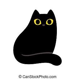 noir, dessin animé, chat