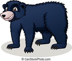 noir, dessin animé, ours