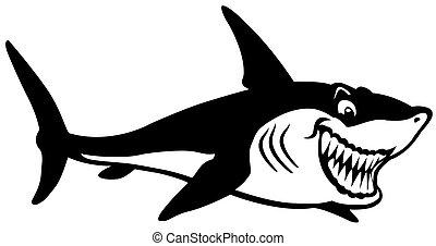 noir, dessin animé, requin, blanc
