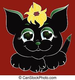 noir, dessin animé, vecteur, mignon, illustration, chat