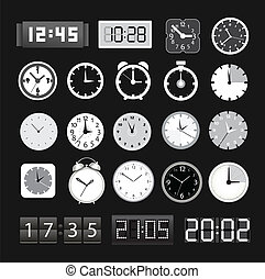 noir, différent, clocks, collection, blanc