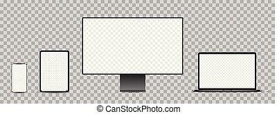 noir, display., ordinateur portable, tablette, devices:, électronique, ensemble, réaliste, smartphone