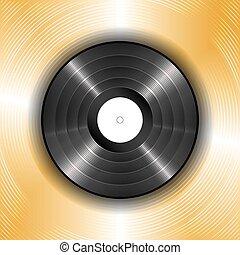 noir, disque vinyle, sur, a, fond, de, or