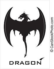 noir, dragon, à, les, hache, aile