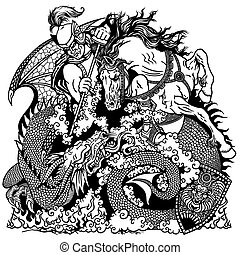 noir, dragon, chevalier, combat, blanc