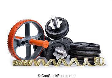noir, dumbbells, à, métal, disques, et, mètre ruban, isolé, blanc, arrière-plan.